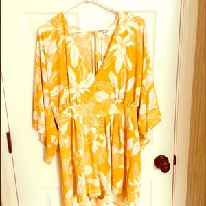 Other - Floral Yellow Romper or Shorts Jumpsuit Size Large